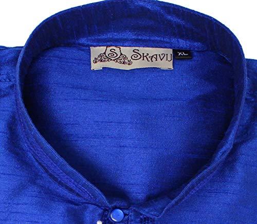 Kurta Pajama Long Sleeve Button Down Dress Shirt Indian Men Wedding Ethnic Casual Dress Traditional Set -XL by SKAVIJ (Image #6)