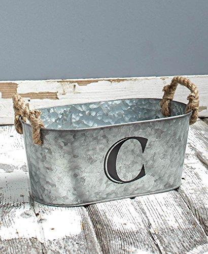 Galvanized Monogram Bucket C