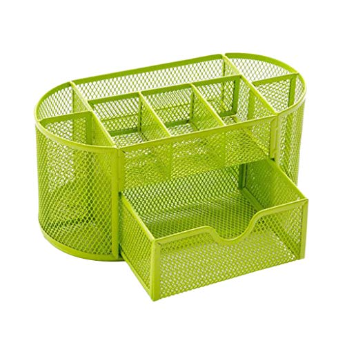 Iusun All-in-one Space Storage Basket Mesh Crate Cosmetics Storage Desktop Container Supplies Organizer Pencil Cup Creative Desk Decoration School Supplies Office Home-Ship from USA (Green)