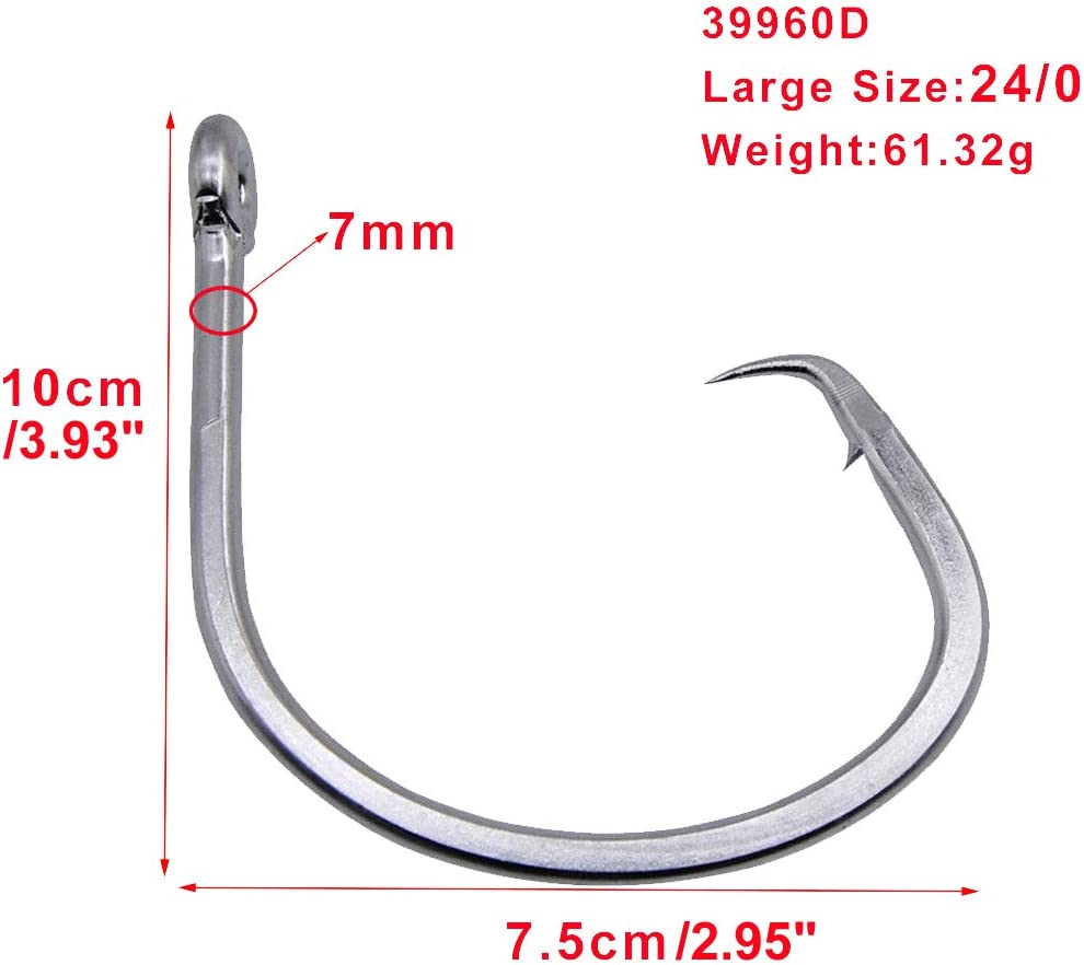 Tuna Circle Fishing Hook 39960 Stainless Steel Extra Strong Saltwater Big Game Short Shank Circle Hook Size 8//0-28//0