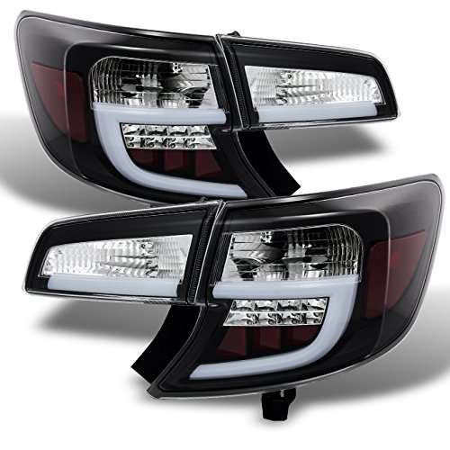 For 12-14 Toyota Camry Black Bezel LED Light Tube Design Rear Tail Lights Brake Lamps Replacement 4pcs