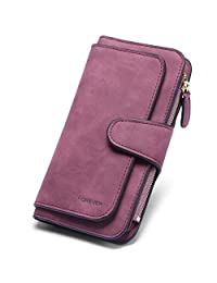 Wallets for women Leather Ladies Bifold Clutch Long Multi Credit Card Holder Organizer wine red