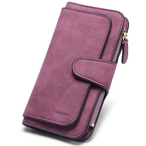 Wallet for Women PU Leather Clutch Purse Bifold Long Designer Ladies Checkbook Multi Credit Card Holder Organizer with Coin Zipper Pocket Wine Red