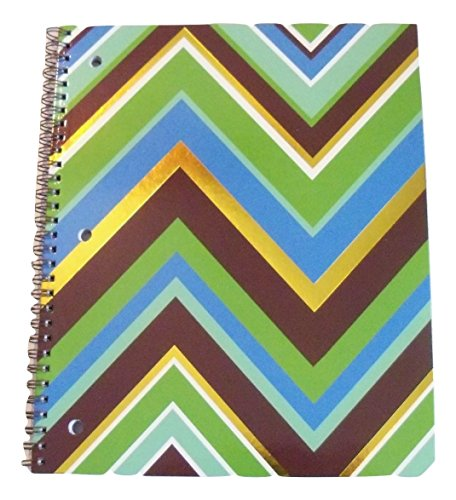 - Carolina Pad Studio C College Ruled Foil Cover Spiral Notebook ~ Hot Chocolate (Shades of Blue, Green, Brown, and Gold Foil Waves; 8.5