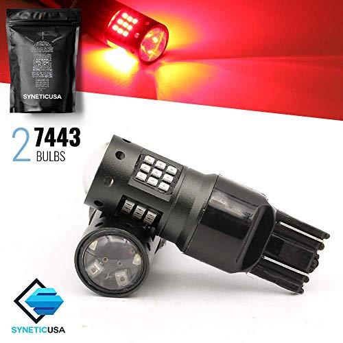 Red Flashing Strobe Blinking Rear Alert Safety Brake Tail Stop High Power LED Light Bulbs (7443)
