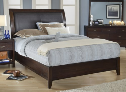 Modus Furniture 2O26L7 Urban Loft Low Profile Sleigh Bed with Synthetic Leather Headboard Panel, King, Chocolate Brown