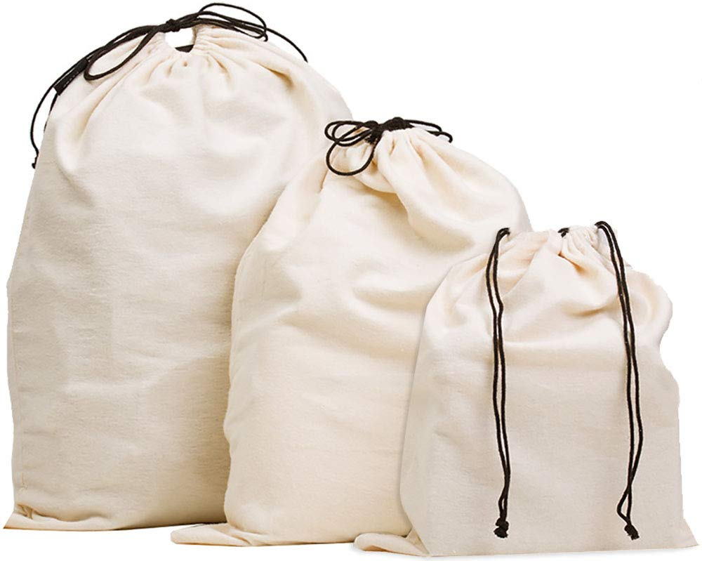 Misslo Set of 3 Cotton Breathable Dust-proof Drawstring Storage Pouch Bag by MISSLO
