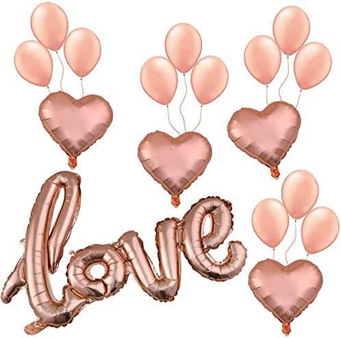 Rose Gold Love Balloons Set (17pcs): Rose Gold Love Letter Foil Balloon Banner, Heart Shaped Balloons, Latex Balloons, Birthday Party Supplies for Girls &Women, Decoration for Baby &Bridal Shower