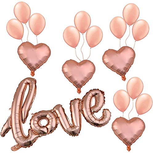 (Rose Gold Love Balloons Set (17pcs): Rose Gold Love Letter Foil Balloon Banner, Heart Shaped Balloons, Latex Balloons, Birthday Party Supplies for Girls &Women, Decoration for Baby &Bridal)