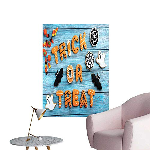 Jaydevn Vintage Halloween Scenery Wall Sticker Trick or Treat Cookie Wooden Table Ghost Bat Web Halloween Home Decor Blue Amber Multicolor W20 x H28]()