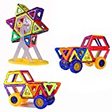 PlayMaty 74 Pieces Magnetic Blocks Building Toys Block Magnets Construction Build Set Toy for Kids Playing and Education with Car Chassis and Wheels