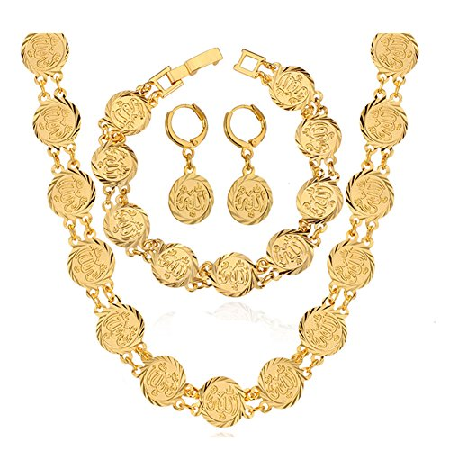 Coin Earrings Bracelet Islamic Ramadan EID Set Muslim Arab Necklace Pendant Gold Plated Jewelery -