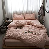 Cartoon color embroidery simple set of four cotton linens washed cotton bedding set in summer,Bed sheet,Four pieces of embroidery - deer,1.5m (5 feet) bed