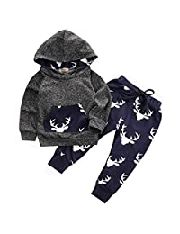 Infant Baby Boy Deer Print 2pcs Set Long Sleeve Hoodie+Long Pants Outfit