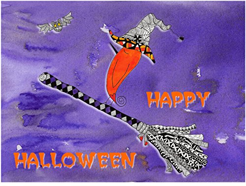 Colorful Happy Halloween Bird Note Cards and Greeting Card - 12-Pack with Envelopes