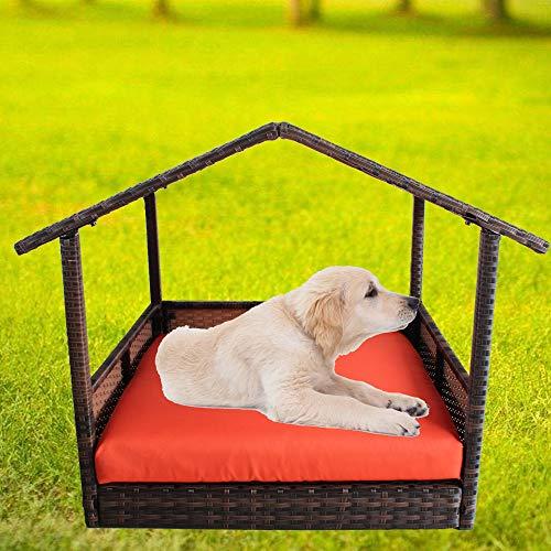 LEAPTIME Patio Pet House Brown PE Rattan Home Indoor Dogs Cats Rabbits Playpen Garden Pet Bed Sofa Cushion-Orange