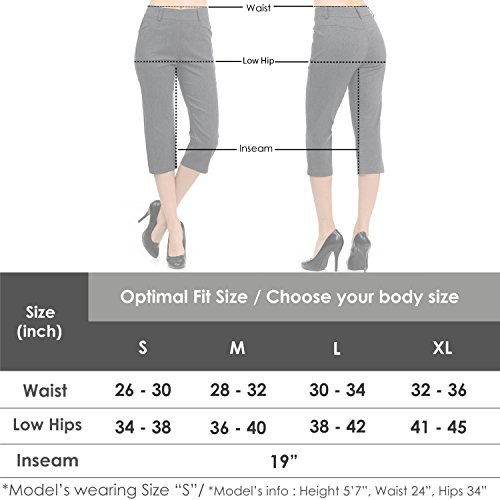 VIV Collection New Women's Straight Fit Trouser Capri Pants (X-Large, Heather Charcoal) by VIV Collection (Image #4)