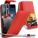 ( Red ) Sony Xperia SP Faux Credit / Debit Card Slot Leather Flip Skin Case Cover & LCD Screen Protector & Aluminium In Ear Earbud Stereo Hands Free Earphone with Built in Mic & On-Off Button by ONX3®