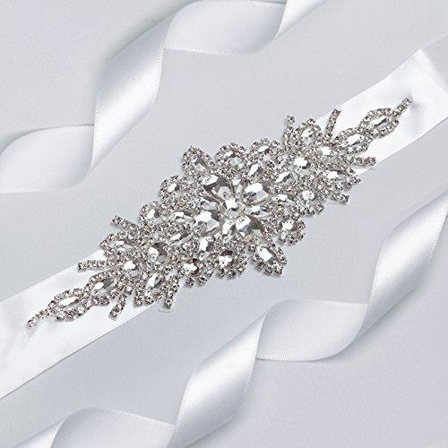 E-Clover Rhinestone Ribbon Sash Belt for Bridal Women's Wedding Dress Belt (Off White) by E-Clover (Image #3)
