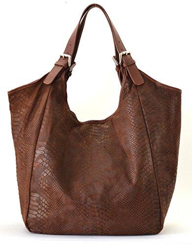 collection 2018 main main DESTOCK modèle bellucci nouvelle façon porté sac épaule cuir et serpent CUIR MOYEN à MARRON 6xtwZXqq