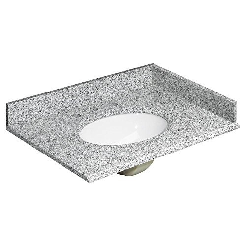 Foremost Groups, Inc. HG31228RG Foremost Vanity Top, Oval Bowl Shape, 31 in W 22 in D, 8 in Faucet Hole, Standard Eased Profile Edge, Rushmore Grey