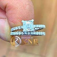 14K Solid White Gold Asscher And Round Cut Simulated Diamond Engagement Ring And Band Prong Set Bridal Wedding Anneversary Halo Deco 2.00ct