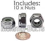 (10) 10mm x 1.50 Stainless Steel Nylon Insert Hex