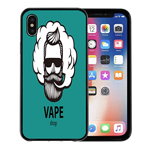 Semtomn Phone Case for Apple iPhone Xs case,Aquamarine Hipster Dude Mustache and Beard Man Vape Cloud Electronic Cigarette Emblem for iPhone X Case,Rubber Border Protective Case,Black ()