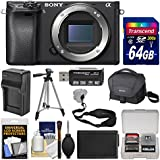 Sony Alpha A6300 4K Wi-Fi Digital Camera Body (Black) with 64GB Card + Case + Battery & Charger + Tripod + Strap + Kit