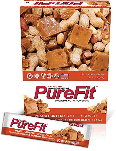 PureFit Gluten-Free Nutrition Bars with 18 grams Protein: Peanut Butter Toffee Crunch, 2 oz Bars, Pack of 15