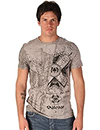 Salvage Mens Warped Grey Smoke V Neck Tee Shirt in Navy Blue