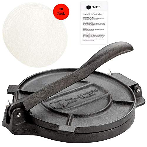 D-ICE Tortilla Press - 8 Inch Pre Seasoned Cast Iron Roti Press, Corn Tortilla Press, Pataconera, Tortilladora - 30 Pre-Cut Round Non-Stick Parchment Wax Paper