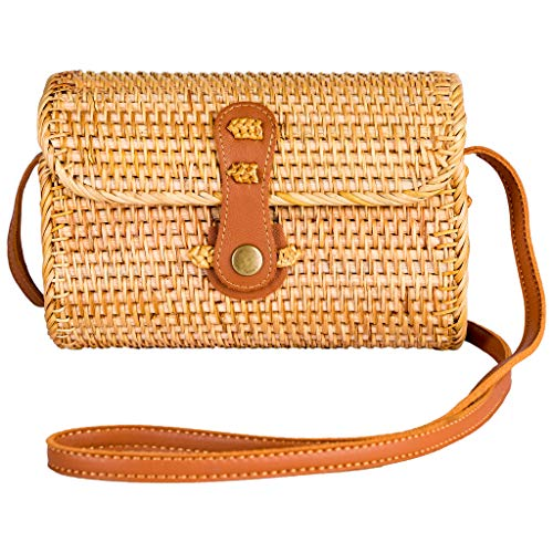 NaturalNeo Clutch Wallet Straw Bag Boho Circle Crossbody Purse Rattan Hand Woven For Women Small Shoulder Crossbody Necessities Bags Wicker Purses In Summer Vacation With Flower Patterns