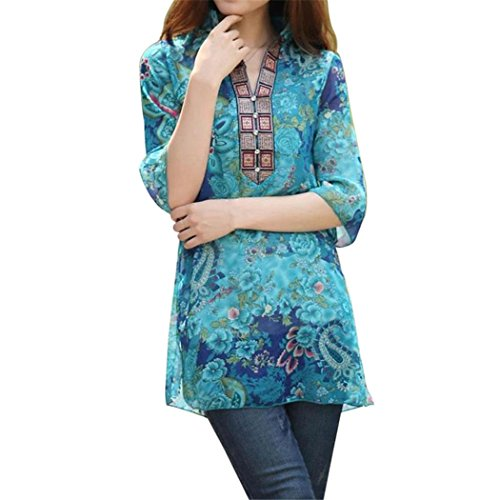 Glamour Vintage Blouse (XWDA Women's Vintage Ethnic Floral Printed Casual Long Sleeve Casual Chiffon Loose T-Shirt)
