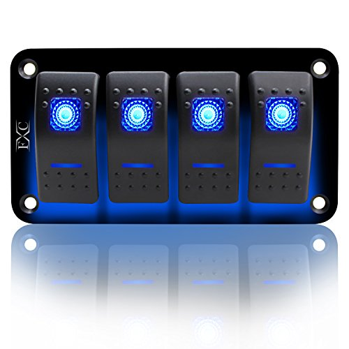 FXC Rocker Switch Aluminum Panel 4 Gang Toggle Switches Dash 5 Pin ON/OFF 2 LED Backlit for Boat Car Marine (Boat Rocker Switches)