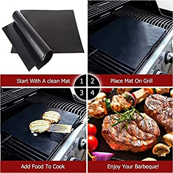 Non Stick BBQ Cooking Mat Black Gas 3 Pcs Grill Mat Reusable Baking Mats for Charcoal Electric