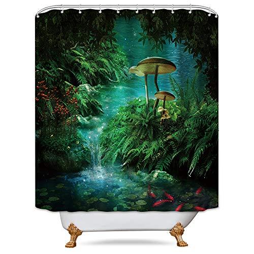 Riyidecor Mushroom Fantasy Shower Curtain Panel Weighted Hem Jungle Forest Green Teal Zen River Pond Moss Eden Decor Fabric Set Polyester Waterproof 72x72 Inch 12 Pack Plastic - Curtain Mushroom