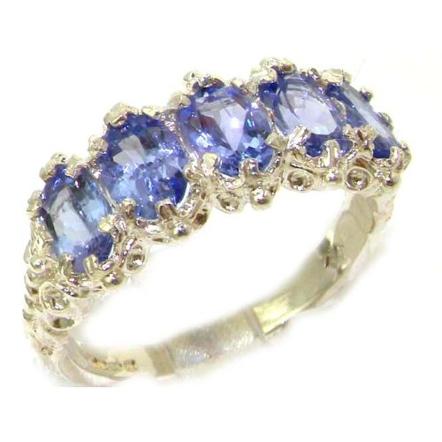 LetsBuyGold 14k White Gold Real Genuine Tanzanite Womens Promise Ring - Size 9