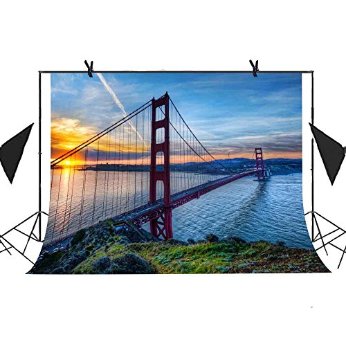Sunset Gates (Meets 7x5ft Famous Buildings Backdrop Golden Gate Bridge Sunset River Water Background Photo Booth Studio Props Themed Party Curtain Background MT389)