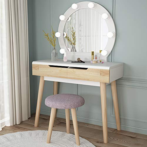 Tribesigns Vanity Set with Round Lighted Mirror, Wood Makeup Vanity Dressing Table Dresser Desk with 2 Drawers and Cushioned Stool for Bedroom (White) (Cheap Table Makeup Vanity)