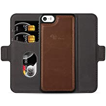 E-Tree iPhone 5/5S/SE Leather Wallet Case with Detachable, RFID Blocking, Flip Magnetic Folio Card Slot Kickstand Case Cover for Apple iPhone 5/5S/SE (4.0 inch) - Brown
