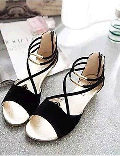 ShangYi Sandaletten für Damen Damenschuhe-Sandalen-Lässig-Vlies-Niedriger Absatz-Komfort-Schwarz / Blau / Rot Blue