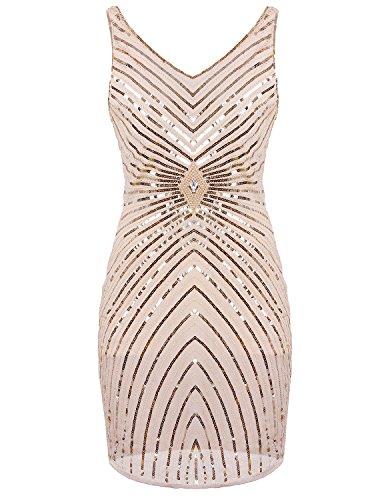 - Vijiv Women's 1920s V-Neck Art Deco Sequin Beaded Tank Cocktail Flapper Dress Beige X-Large