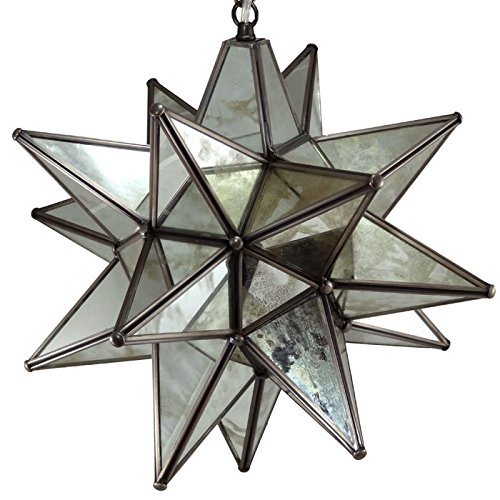 - Moravian Star Pendant Light, Antique Mirrored Glass, 16