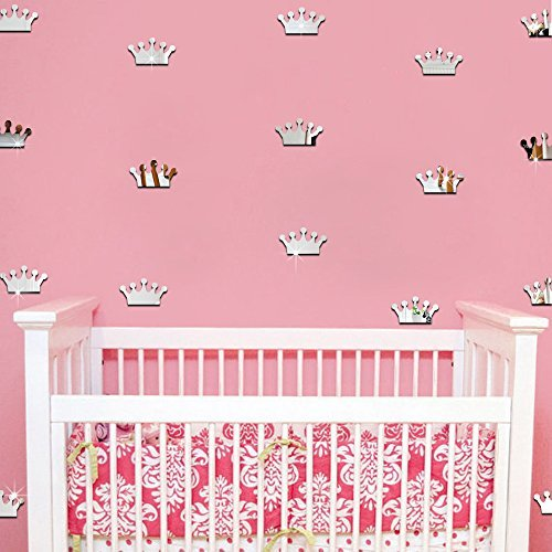 Ufengke 18-Pcs 3D Silver Princess Crown Diy Mirror Effect Wall Decals,Children's Room Nursery Removable Wall Stickers Murals (Princess Mirror Wall Decals)