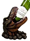 "Atlantic Collectibles Prehistoric Dinosaur T-Rex Head 10.75"" Tall Wine Bottle Holder Caddy Figurine"