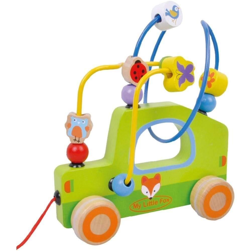 Jumini ® - Voiture en bois à tirer - boulier labyrinthe à perles - jouet pour enfant - muticolore