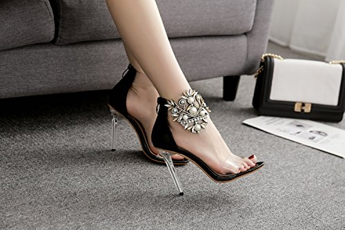 Color Shoes Women's Fall Summer Stiletto Light Platform Heel PVC Black Heels Shoes Crystal up Sparkling Club 40 Size Translucent Heel Shoes Glitter Heel rqwdHxCq