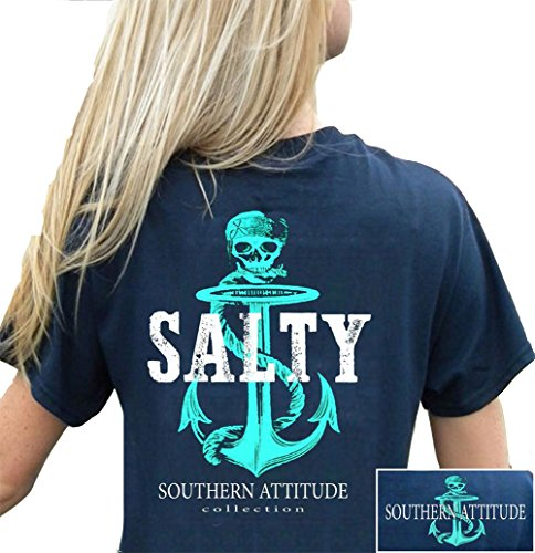 Southern Attitude Pirate Anchor Navy Preppy Women's Short Sleeve Tee Shirt (Small) - Womens Southern Clothing