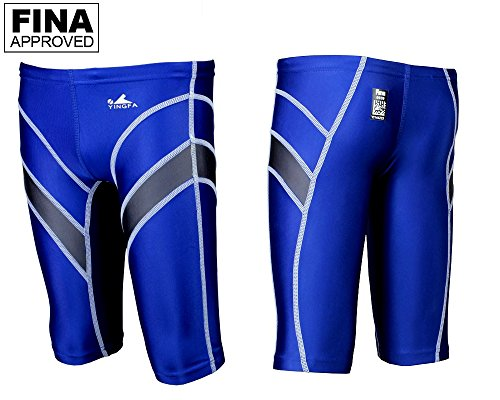 Yingfa 9402-5 Blue/Gray Lightning Arrow Sharkskin Men's Jammers -Fina Approved (Small/24-26) - Fina Approved Swimwear